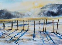 冬天被绘的风景水彩 免版税库存图片