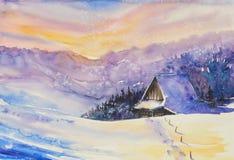 冬天被绘的风景水彩 库存图片