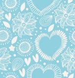 冬天装饰无缝的样式 与心脏和花的逗人喜爱的背景 墙纸的,印刷品,工艺织品华丽纹理, 免版税图库摄影