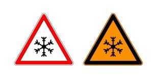 冬天警告集合标志显示冰和雪的危险在街道、高速公路或者路 雪冰警报信号isol的警报信号风险 库存图片