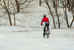冬天训练的专业山骑自行车者在地方小山 库存图片