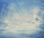 冬天设计-驯鹿森林 免版税库存图片