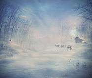 冬天设计-驯鹿森林 免版税库存照片