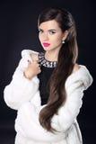 冬天豪华白色皮大衣的秀丽妇女 时装模特儿女孩 库存照片
