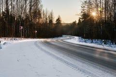 冬天路在一个多雪的森林里 库存图片