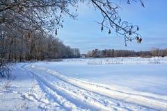 冬天路在村庄 免版税库存照片