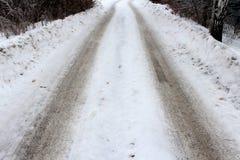 冬天路在森林里 免版税库存照片