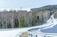 冬天路在西伯利亚森林里 免版税图库摄影