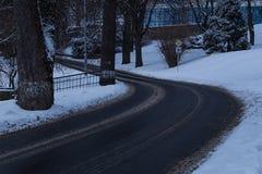 冬天路在雪森林里 库存照片