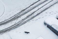 冬天路摘要 库存照片