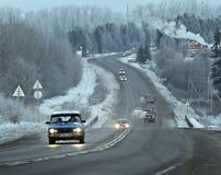 冬天路路线迷离卡车 库存图片