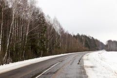 冬天路,特写镜头 库存图片