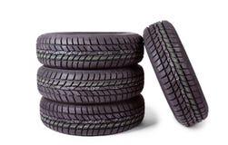 冬天车胎的照片 免版税库存图片