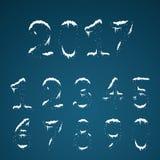 冬天透明多雪的数字设置了与雪盖帽 冻结的numbe 库存例证