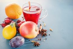 冬天酒精饮料-被仔细考虑的酒,拳打,酒 玻璃瓶子用被仔细考虑的酒 果子热茶 香料,果子 免版税库存图片