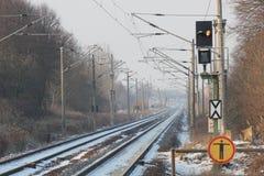 冬天铁路轨道 库存图片