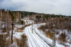 冬天铁路 免版税库存图片