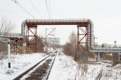 冬天铁路 免版税图库摄影