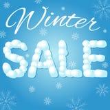 冬天销售与雪球的横幅例证 向量 免版税库存图片