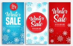 冬天销售传染媒介海报或横幅设置了与折扣文本和雪元素 免版税图库摄影