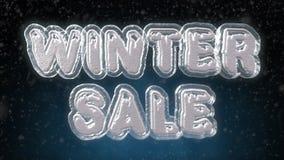 冬天销售冰和雪3D文本 免版税库存照片
