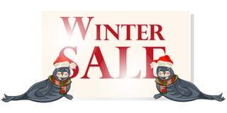 冬天销售横幅,标志,与极性dichtung的背景 免版税图库摄影