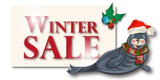 冬天销售横幅,标志,与极性dichtung的背景 免版税库存图片