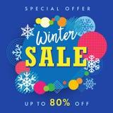 冬天销售特价优待横幅、色环和雪模板 库存照片