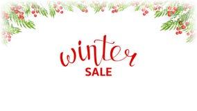 冬天销售网横幅模板 库存例证