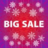 冬天销售背景横幅和雪 圣诞节 库存照片