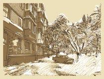 冬天镇风景 免版税库存照片