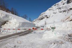冬天闭合的路 库存图片