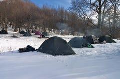 冬天阵营。 图库摄影