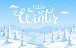 冬天雪与杉树的风景背景 库存图片