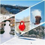 冬天雪人的照片拼贴画,抽烟的烟囱,以心脏的形式红色挂锁,乘坐在孩子和wi雪橇  免版税库存照片