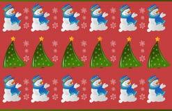 冬天雪人装饰品样式 免版税库存照片