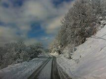 冬天雪全景风景在马其顿国家公园 免版税图库摄影