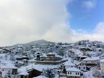 冬天雪全景风景在马其顿国家公园 库存图片