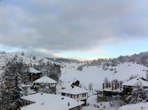冬天雪全景风景在马其顿国家公园 免版税库存照片