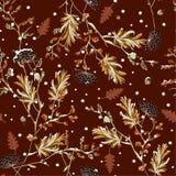 冬天雪减速火箭的无缝的样式传染媒介在庭院花精美软和美好的心情设计的时尚的,织品, 库存例证