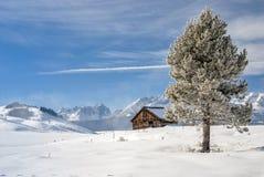 冬天雪和客舱在山 免版税库存图片