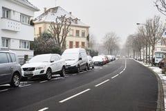 冬天雪在市史特拉斯堡,阿尔萨斯,法国 免版税库存图片