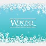 冬天雪花蓝色背景传染媒介图象 库存图片
