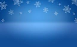 冬天雪花蓝色背景阶段 免版税图库摄影