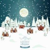 冬天雪都市乡下风景城市村庄房地产新年圣诞夜背景现代平的设计象Templ 免版税库存照片