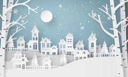 冬天雪都市乡下风景城市村庄 图库摄影