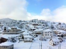 冬天雪风景在马其顿国家公园 库存照片