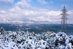 冬天雪风景 免版税库存图片