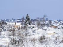 冬天零星风景 安置农村 免版税图库摄影