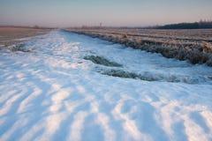 冬天领域日落 库存图片